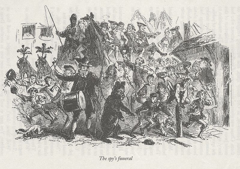 "The Spy's Funeral, by Hablot Knight Browne, Phiz (an illustration to Charles Dickens's ""A Tale of Two Cities"", London, Wordsworth Classics, 1999, scanned by Robert Ferrieux)"