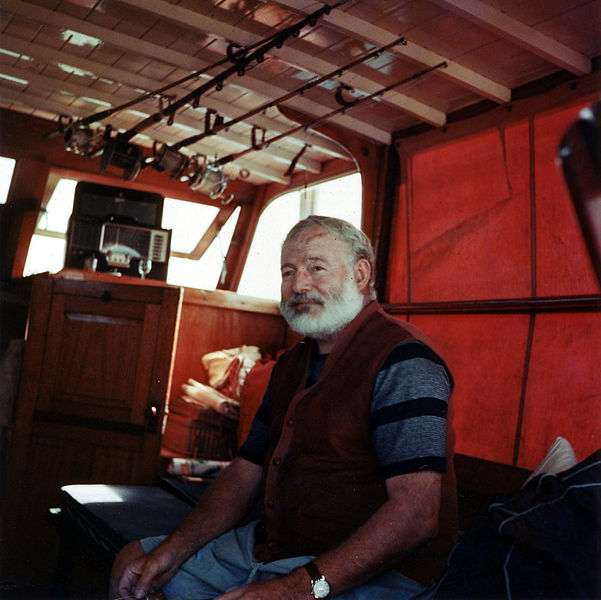 Ernest Hemingway is known for his economical prose (EH, 1950, owned by John F. Kennedy library [Public domain], via Wikimedia Commons)